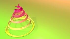 Błyszczący świąteczny faborek tworzy choinka symbol który wiruje 3d odpłacają się Bożenarodzeniowy jaskrawy skład bezszwowy zbiory wideo