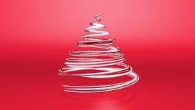 Błyszczący świąteczny faborek tworzy choinka symbol który wiruje 3d odpłacają się Bożenarodzeniowy jaskrawy soczysty skład zbiory wideo