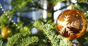 Błyszczący boże narodzenia balowi na gałąź jedlinowy drzewo zbiory