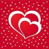 Błyszczący czerwony serca tło Obraz Stock