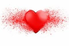 Błyszczący czerwony serce wybucha w tysiąc kawałkach ilustracji