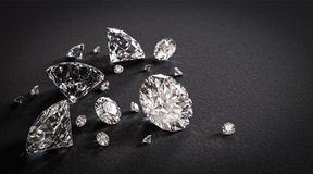 Błyszczący diamenty na czarnym tle Fotografia Stock