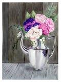 Błyszczący dzbanek z kwiatami ilustracja wektor