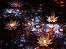 Błyszczący fractal kwiaty ilustracja wektor