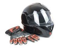 błyszczący hełma czarny motocykl Fotografia Stock