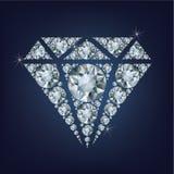 Błyszczący jaskrawy diamentowy symbol zrobił mnóstwo diamentom royalty ilustracja