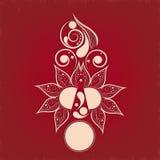 Błyszczący lekki czerwonego colour tatuaż kwiecista dekoracja royalty ilustracja