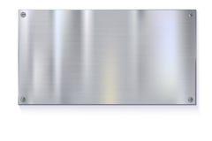 Błyszczący oczyszczeni metalu talerza sztandary na białym tle royalty ilustracja