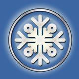 Błyszczący srebny round guzik Z płatkiem śniegu Zimy dekoracja boże narodzenie nowy rok srebny błękit femaleness Zdjęcia Stock