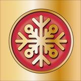 Błyszczący srebny round guzik Z płatkiem śniegu Zimy dekoracja boże narodzenie nowy rok Złocista czerwień femaleness Obrazy Stock