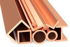 Błyszczący staczający się miedziani metali produkty na bielu Fotografia Stock