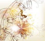 Błyszczący tło z tulipanami w rocznika stylu ilustracji