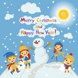 Błyszczący wektorowy bożego narodzenia tło z śmiesznym bałwanem i dziećmi Szczęśliwego nowego roku pocztówkowy projekt z chłopiec ilustracja wektor