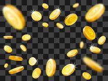 Błyszczący złocistych monet wybuch objętych pieniądze Wektorowy ilustracyjny pojęcie ilustracja wektor