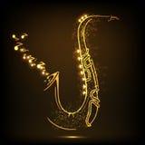 Błyszczący złoty saksofon z muzykalnymi notatkami ilustracji