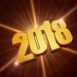 Błyszczeć 3d 2018 złotego nowego roku Obrazy Stock