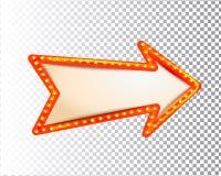 Błyszczeć odosobnioną retro żarówki światła ramy strzałę ilustracja wektor