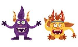 Błyszczka Bigfoot i chochlik bajki śliczny śmieszny charakter, emocje, kreskówka styl dla książek, reklama, majchery, wektor ilustracji
