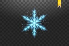 Błyszczy błękitnego płatek śniegu z błyskotliwością odizolowywającą na przejrzystym tle Bożenarodzeniowa dekoracja z olśniewający Royalty Ilustracja