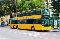 B线路是在悉尼` s北海滩提供频繁和可靠的服务的现代黄色双重甲板公共汽车 免版税库存照片