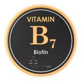 维生素B7,生物素 圈子象,化学式,分子结构 3d?? 库存例证