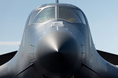 B-1 Lancer Bomber Jet Airplane. Close up view of an American Military B-1 Lancer Bomber Jet Airplane Royalty Free Stock Photography