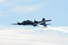 B-17 flying fortress on fire Royalty Free Stock Images