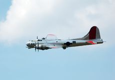 B-17 Flying Fortress warttime bomber. World War bomber in aerial combat reenactment Stock Photos