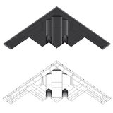 B-2 stealth bomber vector illustration. B-2 stealth bomber bottom view vector illustration in colour and outline stock illustration