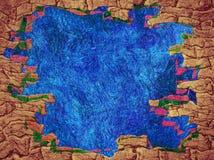 童话与蓝色空间的摘要背景和砖构筑b 免版税库存照片