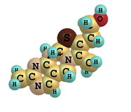 Структура тиамина (витамина B1) молекулярная на белизне Стоковая Фотография RF
