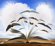 打开在木桌上的旧书页与飞行书页反对b 免版税库存图片