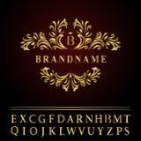 组合图案设计元素,优美的模板 典雅的线艺术商标设计 企业金餐馆的,皇族象征信件B, 免版税库存照片