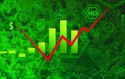 生态技术概念-化学式,绿色摘要b 免版税库存照片
