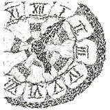 b abstrakcjonistyczny antyczny zegar stylizowany w Obrazy Royalty Free