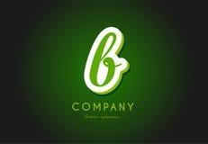 B alphabet letter logo green 3d company vector icon design Stock Image