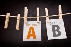 A or B as concept of choice Stock Photos