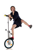 Błazen z unicycle Obrazy Royalty Free