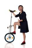 Błazen z unicycle Zdjęcie Royalty Free