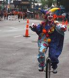 błazenu parady unicycle Zdjęcia Royalty Free