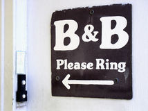 B & B. Sign at bed & breakfast dooway Royalty Free Stock Photo
