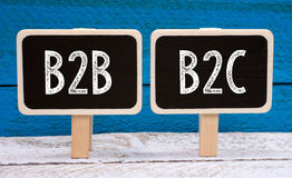 B2B and B2C Business. Two little chalkboards on blue wooden background royalty free stock images