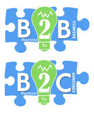 B2B and B2C Colorful Shapes Royalty Free Stock Photos