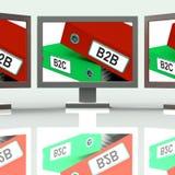 B2B And B2C Screen Mean Company Partnerships Or Customer Relatio. B2B And B2C Screen Meaning Company Partnerships Or Customer Relations Stock Photography