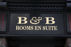 B&B Bed and Breakfast Sign. On Black Background Royalty Free Stock Image