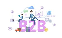 B2B, business-to-business. Concept table with keywords, letters and icons. Colored flat vector illustration on white. B2B, business-to-business. Concept with Royalty Free Stock Photos