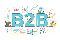 B2B : Business to business, word illustration. For e-biz business concept. Design in modern style with related icons ornament concept for ui, ux, web, app Royalty Free Stock Image