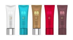B B creme na cor diferente dos pacotes Vector a ilustração de pacotes realísticos dos tubos da fundação da composição Fotografia de Stock Royalty Free