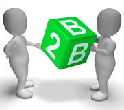 B2b Dice As A Sign Of Business. B2b Green Dice As A Sign Of Business And Partnership Royalty Free Stock Images