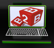 B2B Dices On Laptop Showing Online Commerce Stock Image